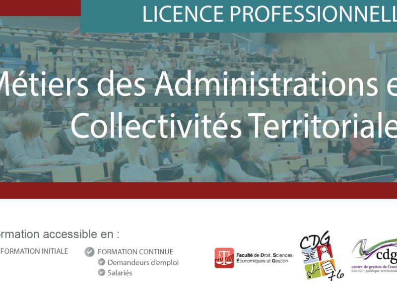 licence professionnelle « Métiers des Administrations et des Collectivités Territoriales » :  inscriptions jusqu'au 23 avril 2019